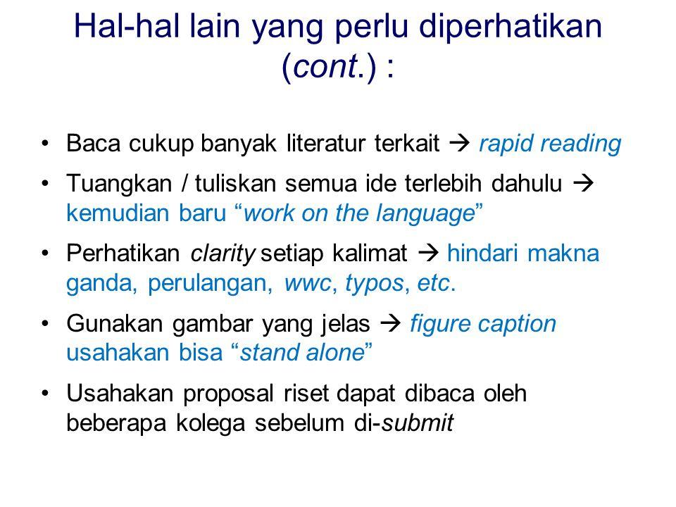 Hal-hal lain yang perlu diperhatikan (cont.) :