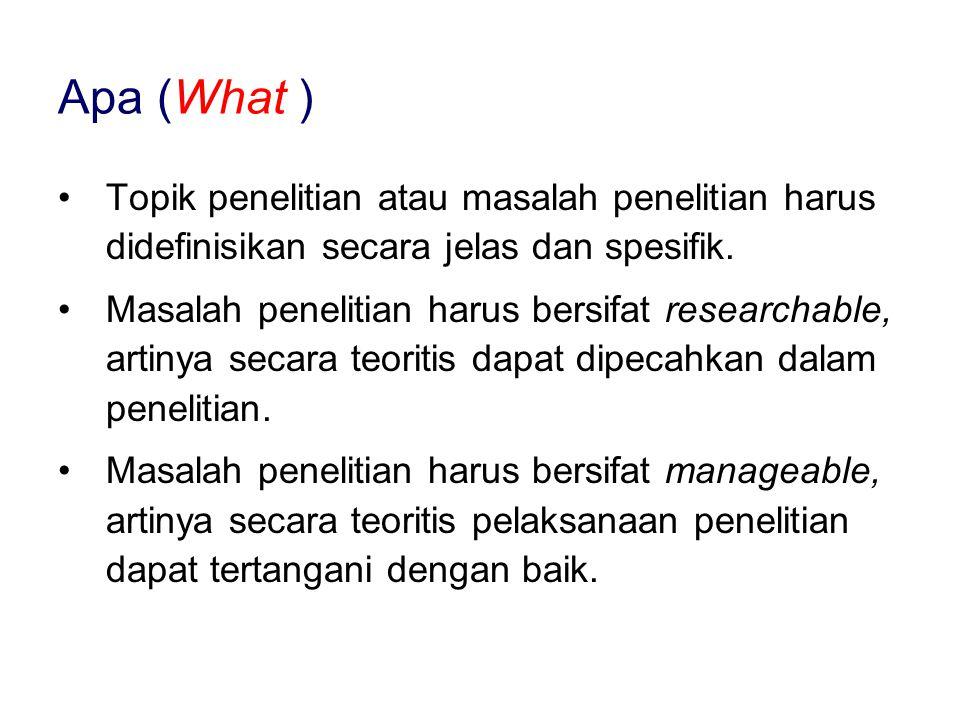 Apa (What ) Topik penelitian atau masalah penelitian harus didefinisikan secara jelas dan spesifik.