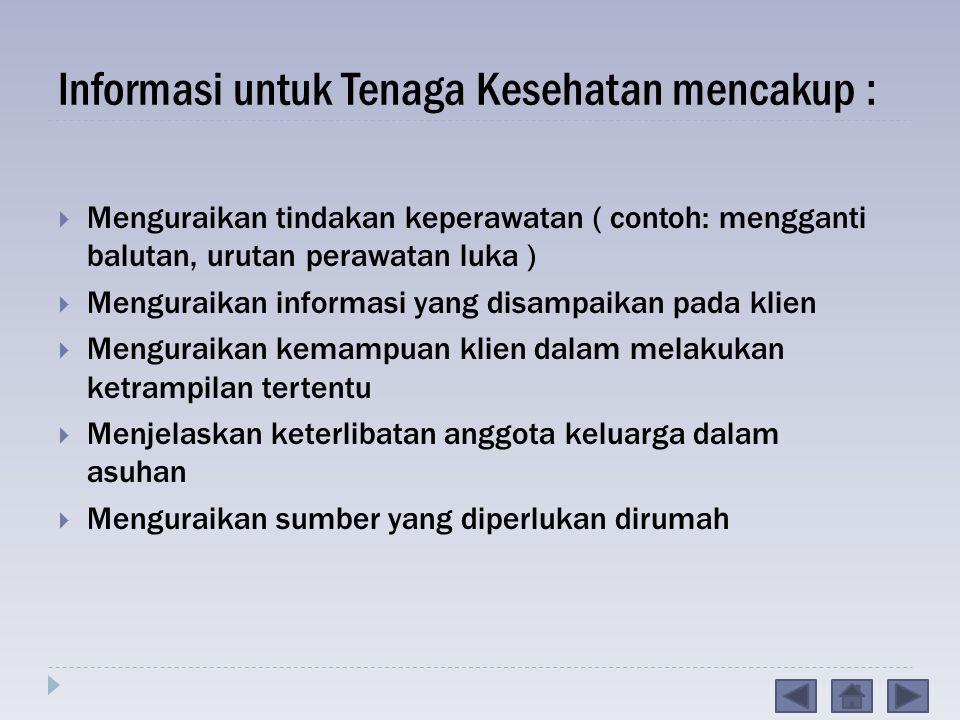 Informasi untuk Tenaga Kesehatan mencakup :