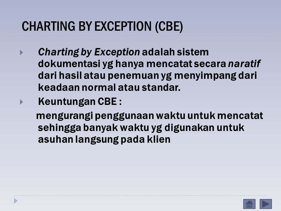 CHARTING BY EXCEPTION (CBE)