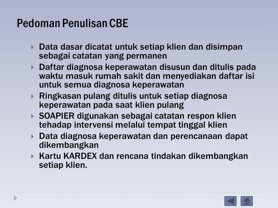Pedoman Penulisan CBE Data dasar dicatat untuk setiap klien dan disimpan sebagai catatan yang permanen.