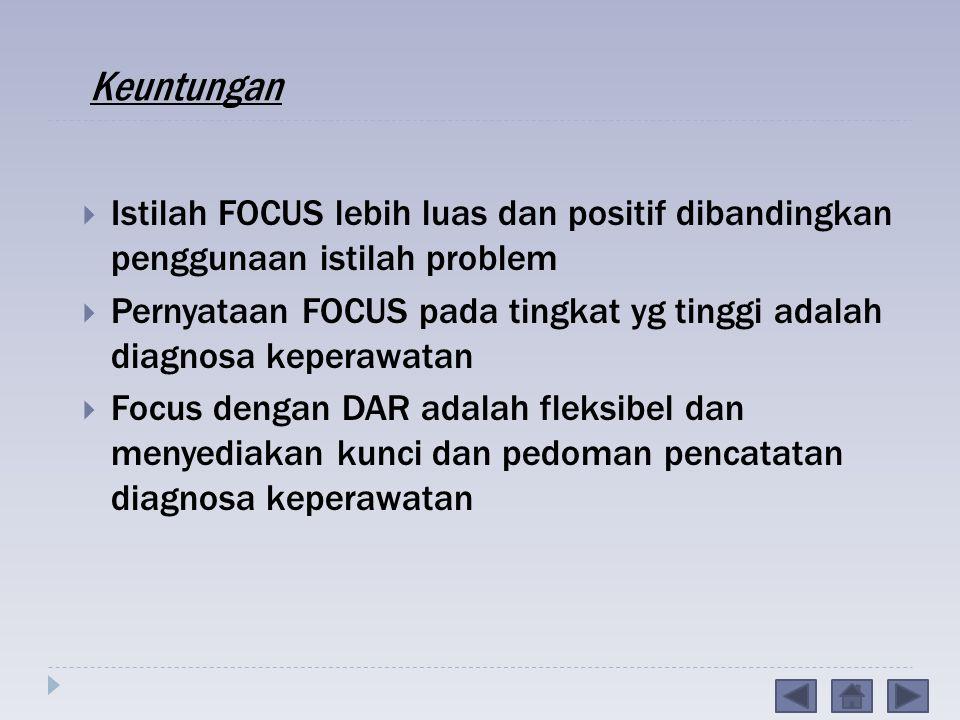 Keuntungan Istilah FOCUS lebih luas dan positif dibandingkan penggunaan istilah problem.