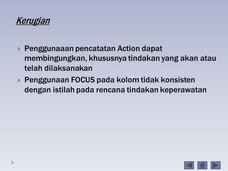 Kerugian Penggunaaan pencatatan Action dapat membingungkan, khususnya tindakan yang akan atau telah dilaksanakan.