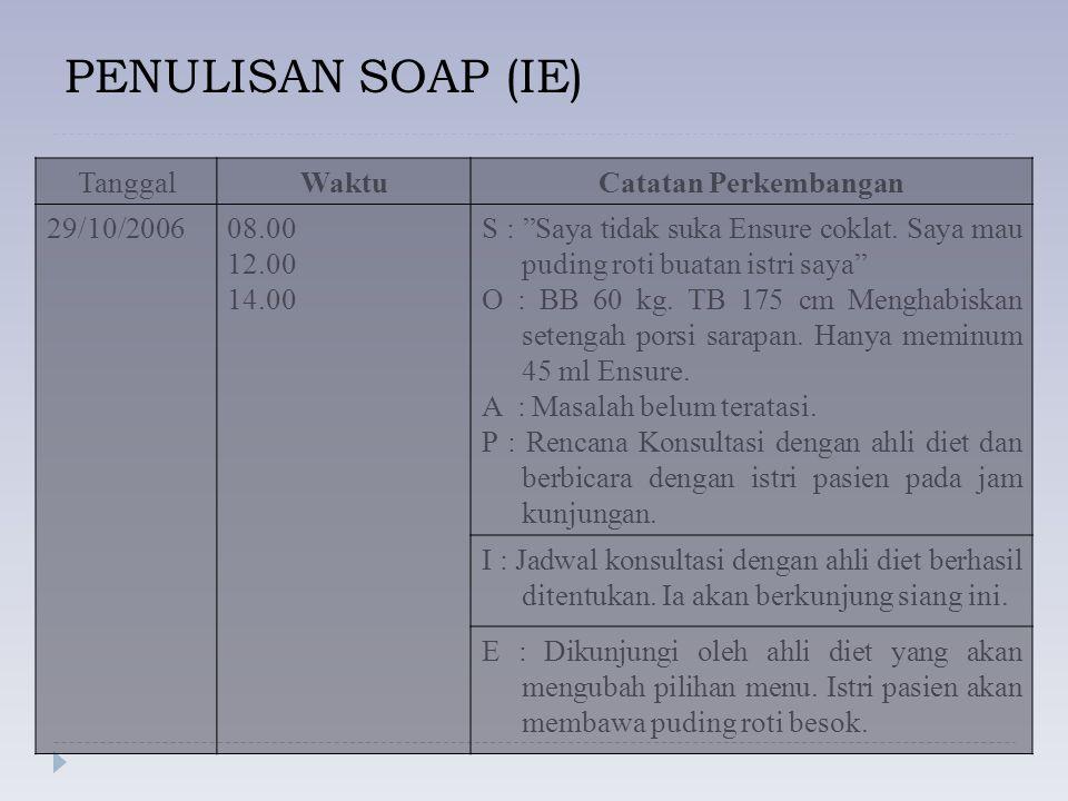 PENULISAN SOAP (IE) Tanggal Waktu Catatan Perkembangan 29/10/2006