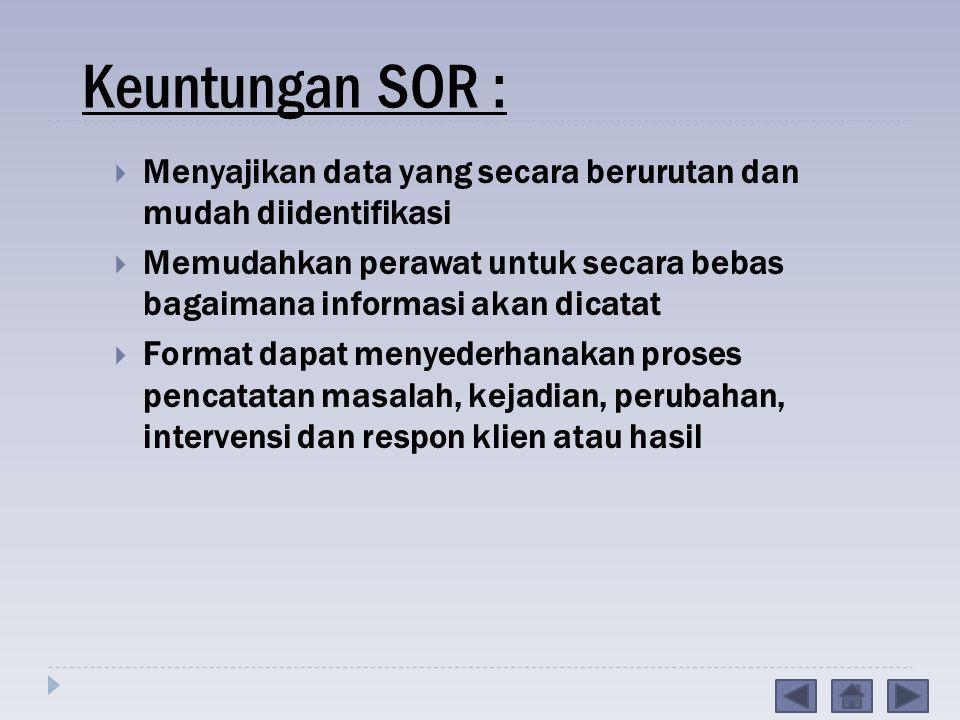 Keuntungan SOR : Menyajikan data yang secara berurutan dan mudah diidentifikasi.
