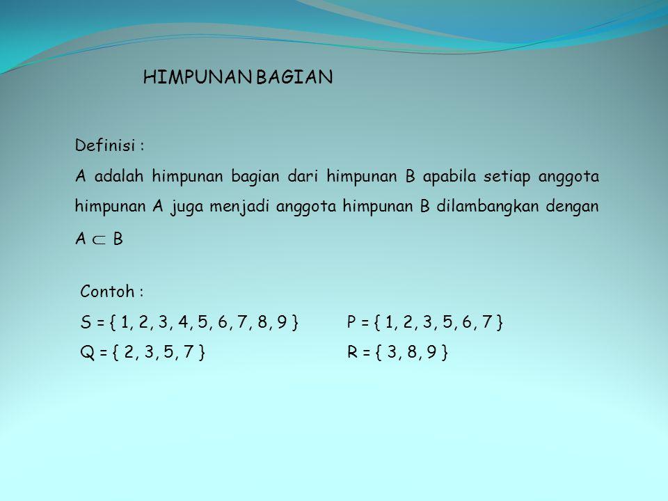 HIMPUNAN BAGIAN Definisi :