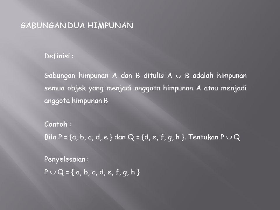 GABUNGAN DUA HIMPUNAN Definisi :
