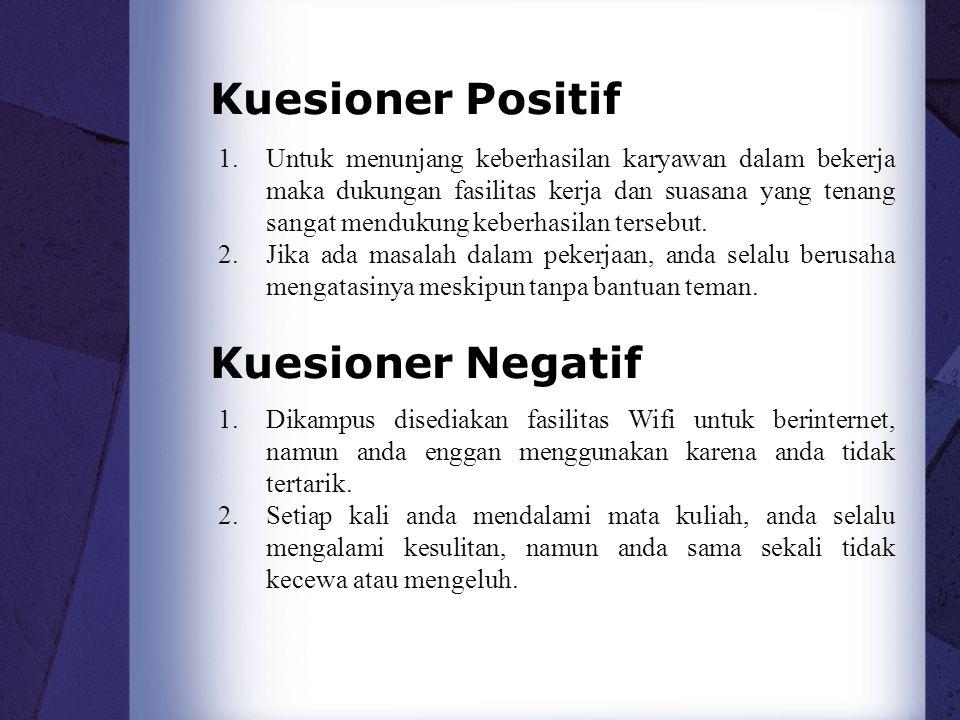 Kuesioner Positif Kuesioner Negatif