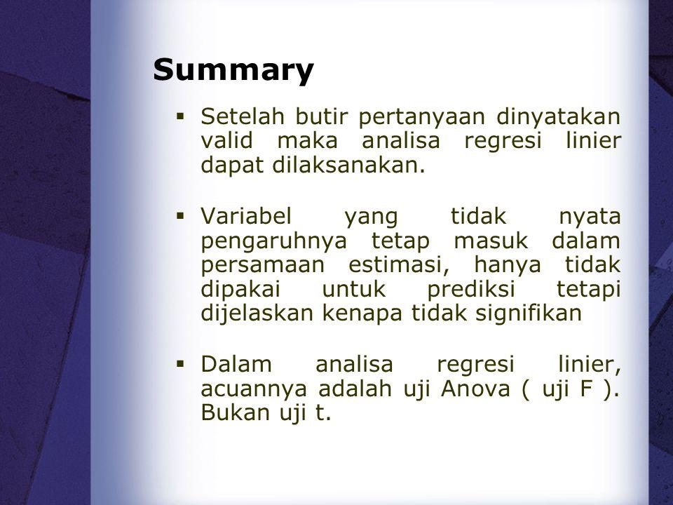 Summary Setelah butir pertanyaan dinyatakan valid maka analisa regresi linier dapat dilaksanakan.