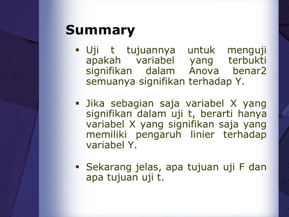 Summary Uji t tujuannya untuk menguji apakah variabel yang terbukti signifikan dalam Anova benar2 semuanya signifikan terhadap Y.