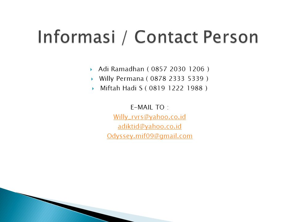 Informasi / Contact Person
