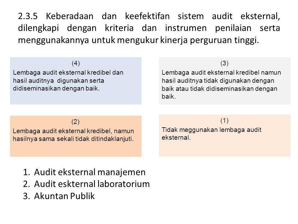 Audit eksternal manajemen Audit eskternal laboratorium Akuntan Publik