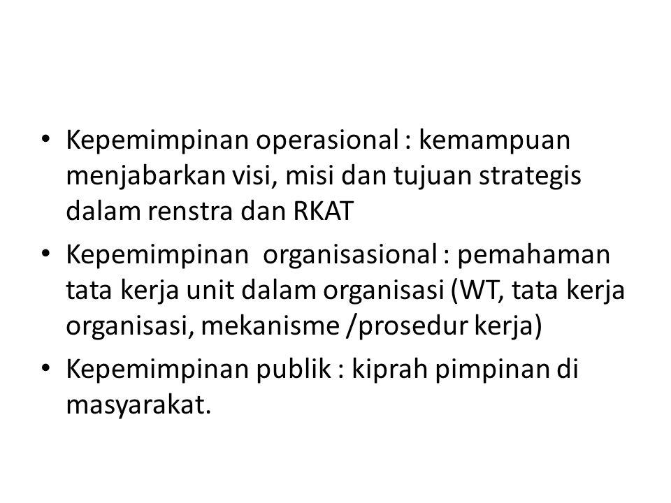 Kepemimpinan operasional : kemampuan menjabarkan visi, misi dan tujuan strategis dalam renstra dan RKAT