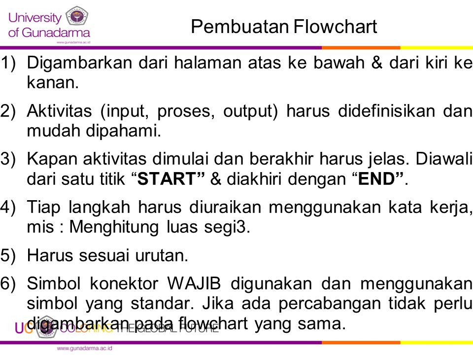 Pembuatan Flowchart Digambarkan dari halaman atas ke bawah & dari kiri ke kanan.