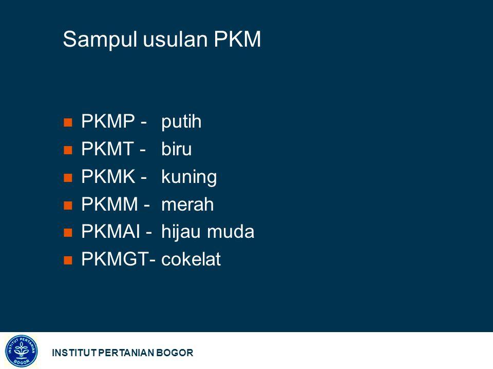 Sampul usulan PKM PKMP - putih PKMT - biru PKMK - kuning PKMM - merah
