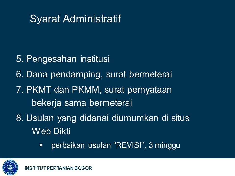 Syarat Administratif 5. Pengesahan institusi