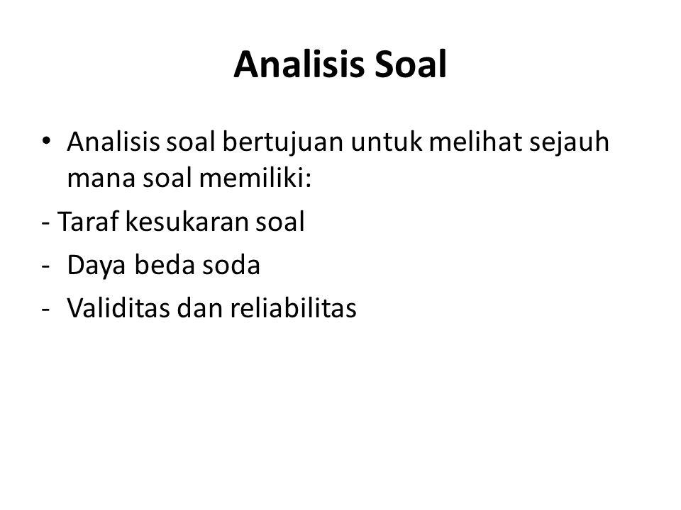 Analisis Soal Analisis soal bertujuan untuk melihat sejauh mana soal memiliki: - Taraf kesukaran soal.