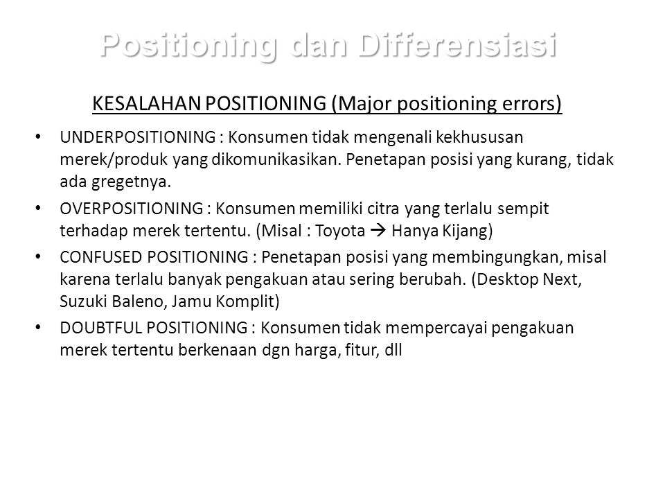 Positioning dan Differensiasi