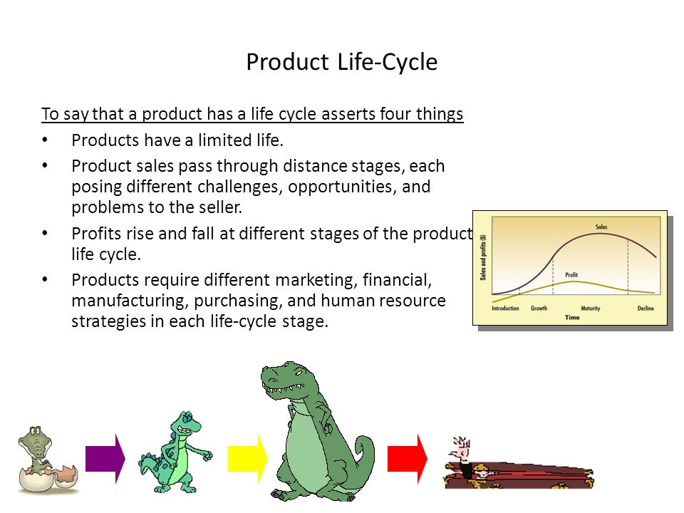 Product Life-Cycle To say that a product has a life cycle asserts four things. Products have a limited life.