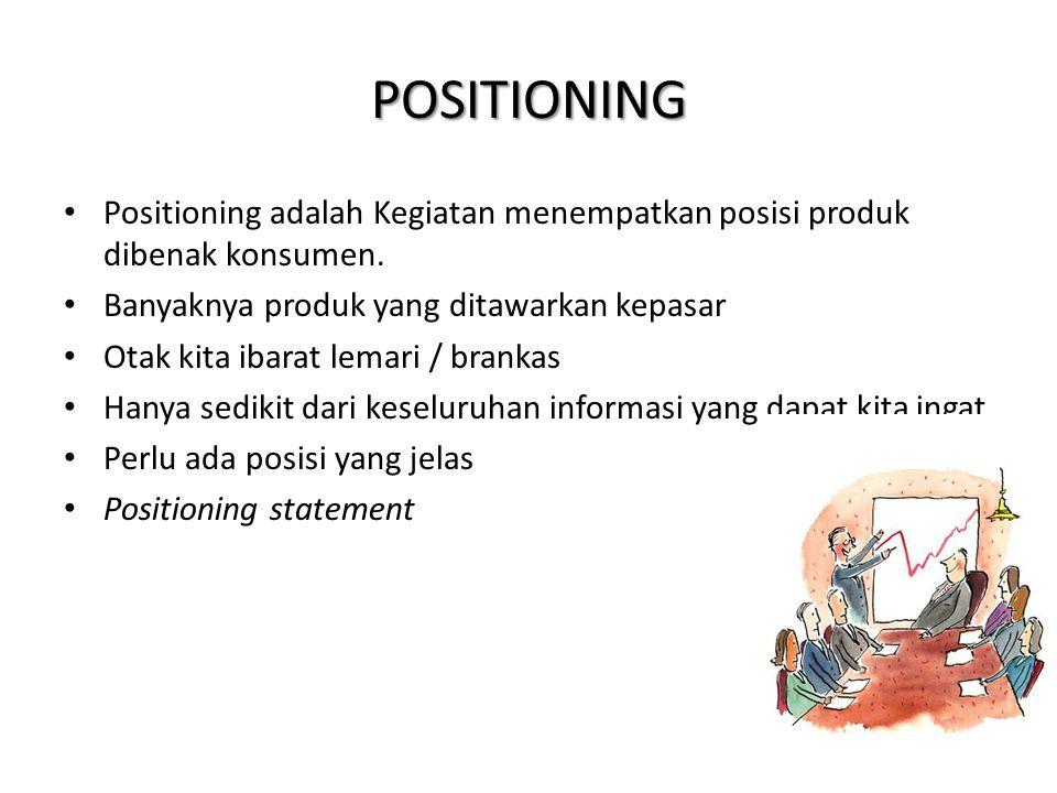 POSITIONING Positioning adalah Kegiatan menempatkan posisi produk dibenak konsumen. Banyaknya produk yang ditawarkan kepasar.