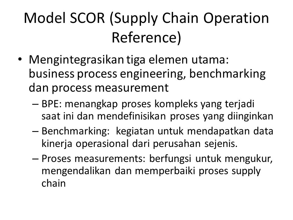 Model SCOR (Supply Chain Operation Reference)