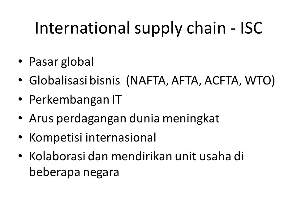 International supply chain - ISC
