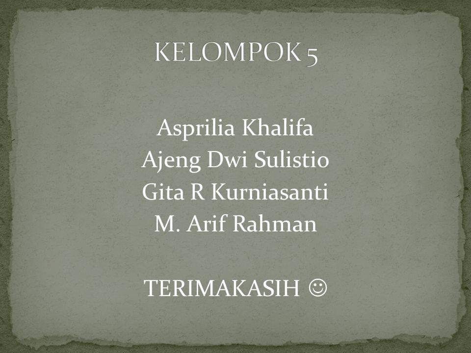 KELOMPOK 5 Asprilia Khalifa Ajeng Dwi Sulistio Gita R Kurniasanti M. Arif Rahman TERIMAKASIH 