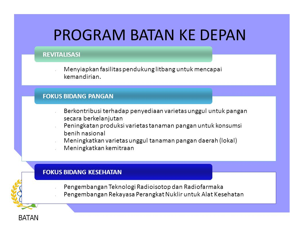 PROGRAM BATAN KE DEPAN REVITALISASI