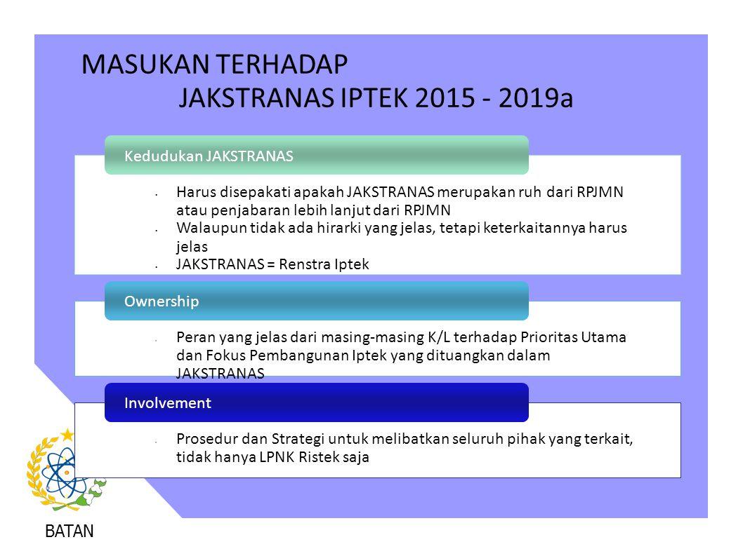 MASUKAN TERHADAP JAKSTRANAS IPTEK 2015 - 2019a Kedudukan JAKSTRANAS