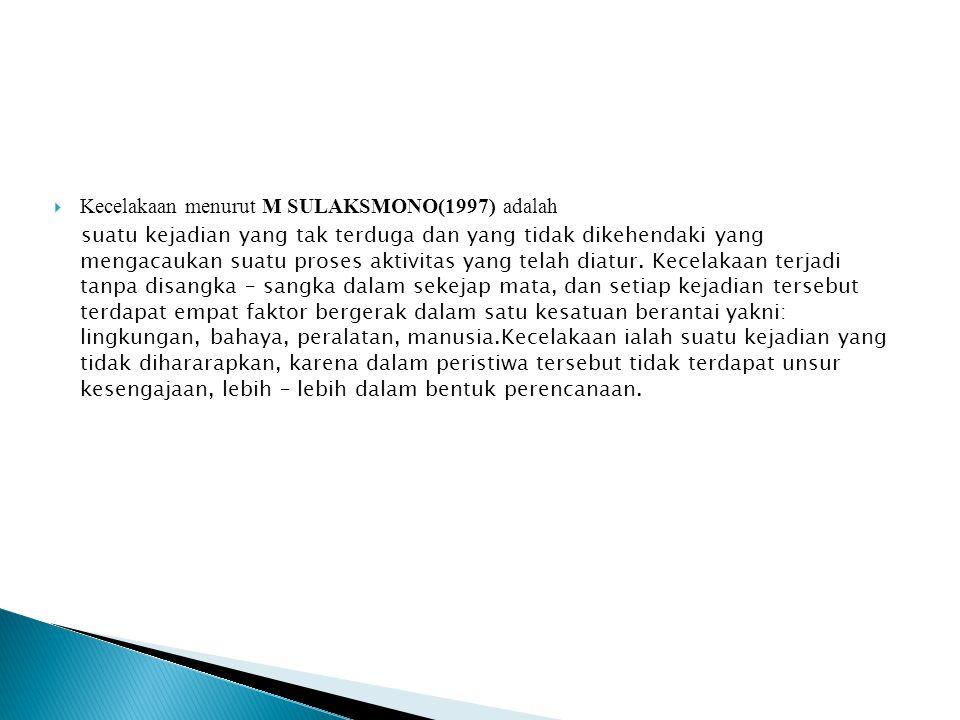 Kecelakaan menurut M SULAKSMONO(1997) adalah