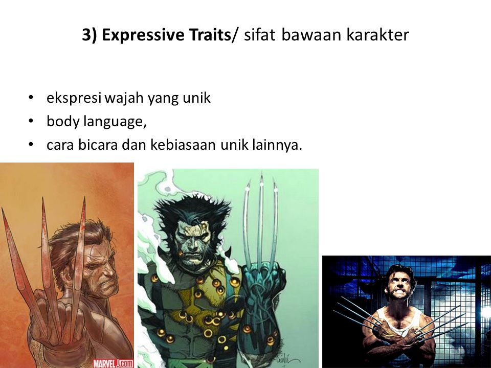 3) Expressive Traits/ sifat bawaan karakter