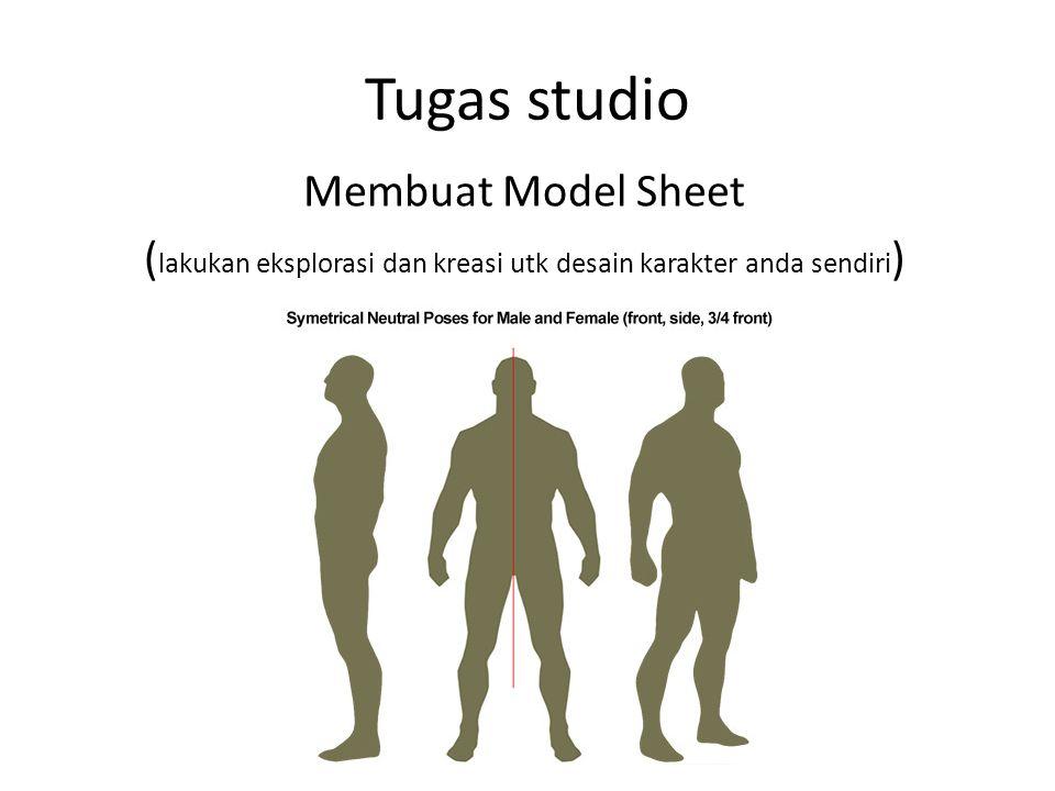 Tugas studio Membuat Model Sheet (lakukan eksplorasi dan kreasi utk desain karakter anda sendiri)
