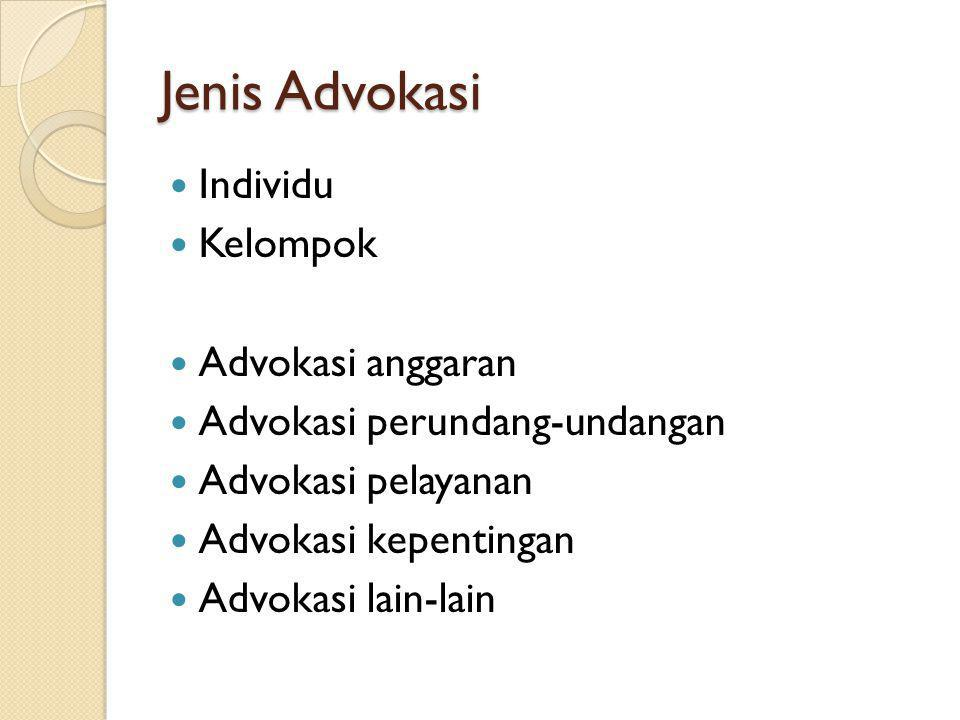 Jenis Advokasi Individu Kelompok Advokasi anggaran