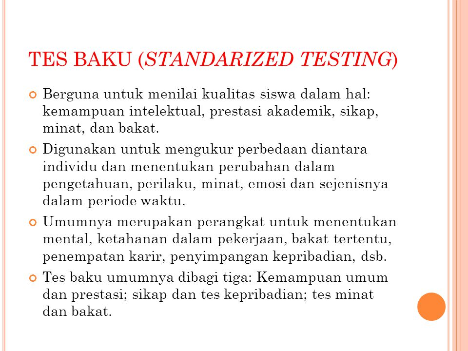 TES BAKU (STANDARIZED TESTING)
