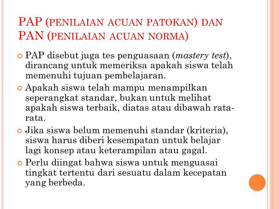 PAP (penilaian acuan patokan) dan PAN (penilaian acuan norma)