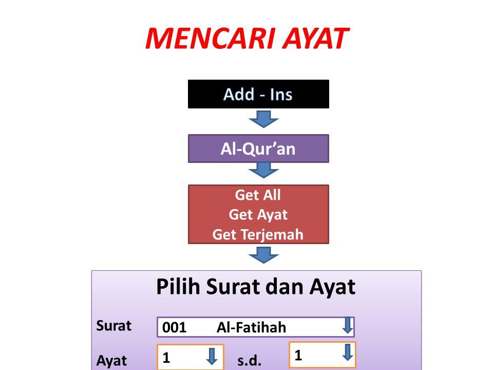 MENCARI AYAT Pilih Surat dan Ayat Add - Ins Al-Qur'an Get All Get Ayat