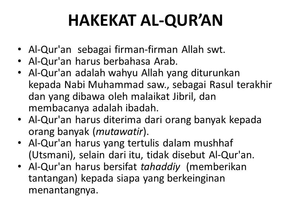 HAKEKAT AL-QUR'AN Al-Qur an sebagai firman-firman Allah swt.