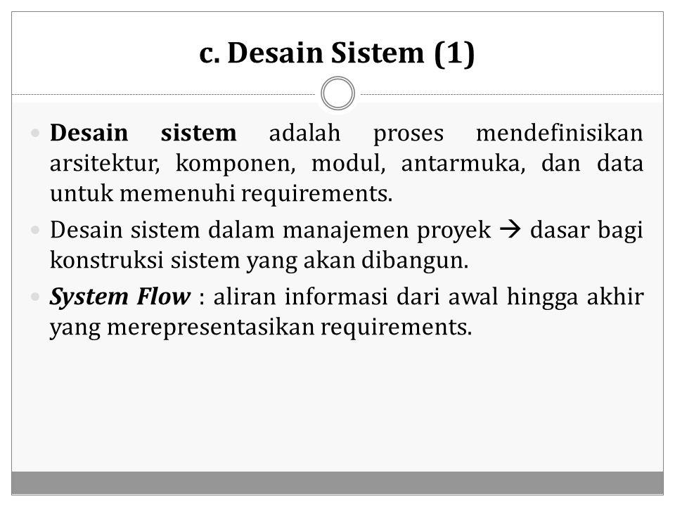 c. Desain Sistem (1) Desain sistem adalah proses mendefinisikan arsitektur, komponen, modul, antarmuka, dan data untuk memenuhi requirements.