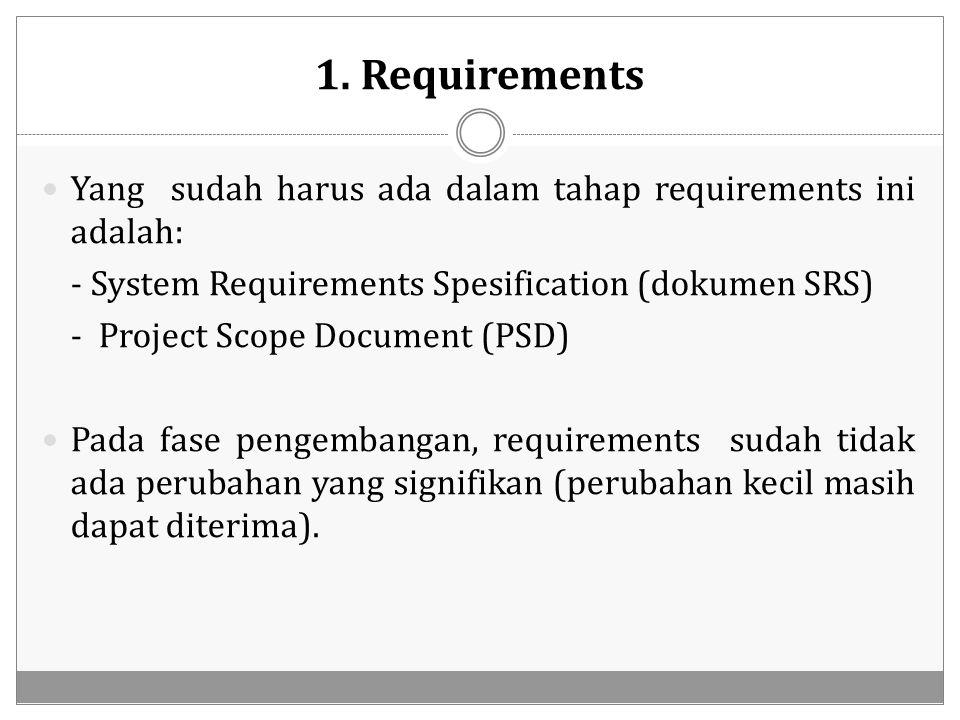 1. Requirements Yang sudah harus ada dalam tahap requirements ini adalah: - System Requirements Spesification (dokumen SRS)