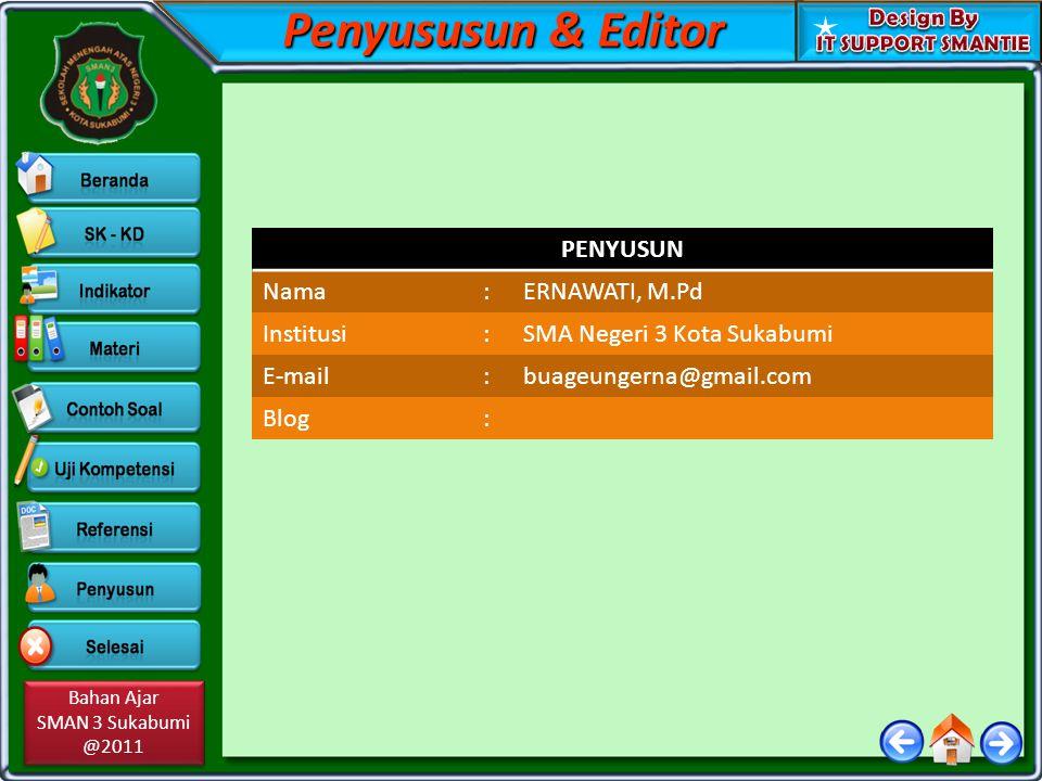 Penyususun & Editor PENYUSUN Nama : ERNAWATI, M.Pd Institusi