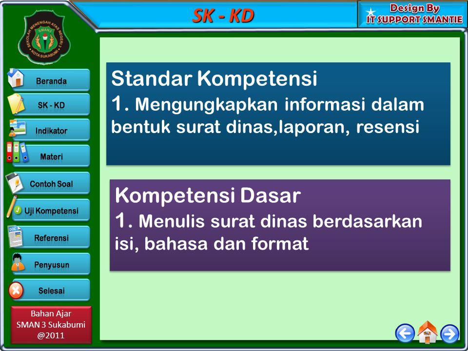 SK - KD Standar Kompetensi. 1. Mengungkapkan informasi dalam bentuk surat dinas,laporan, resensi. Kompetensi Dasar.