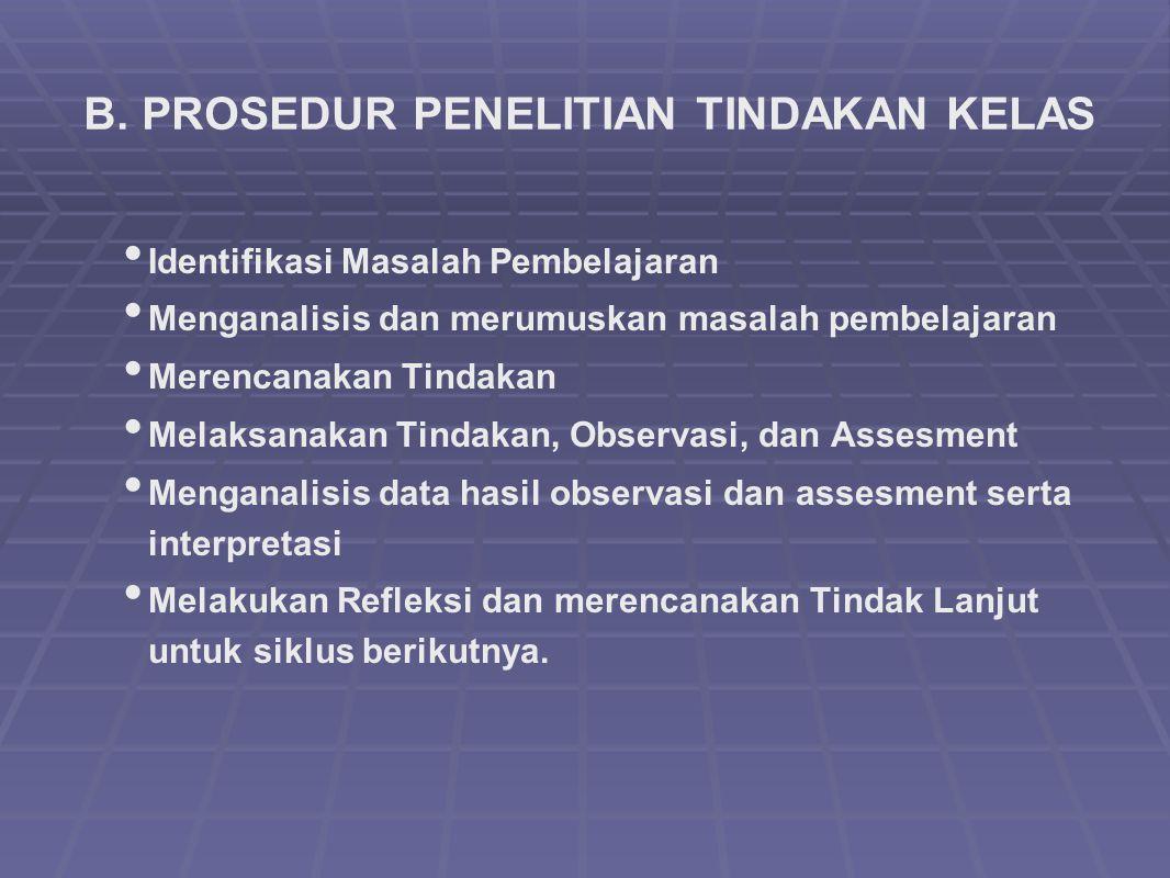 B. PROSEDUR PENELITIAN TINDAKAN KELAS