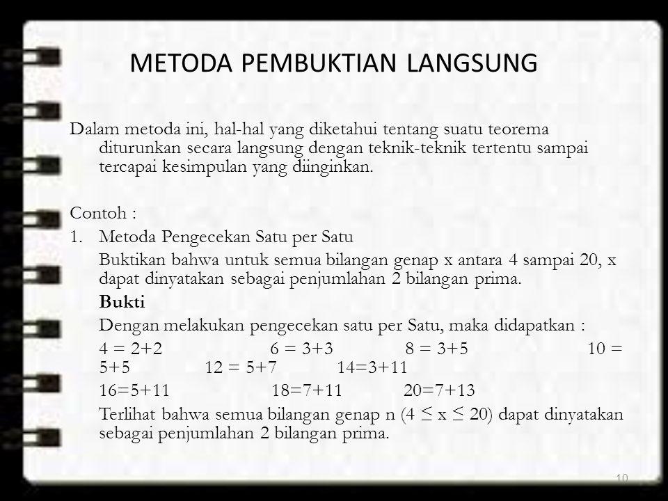 METODA PEMBUKTIAN LANGSUNG