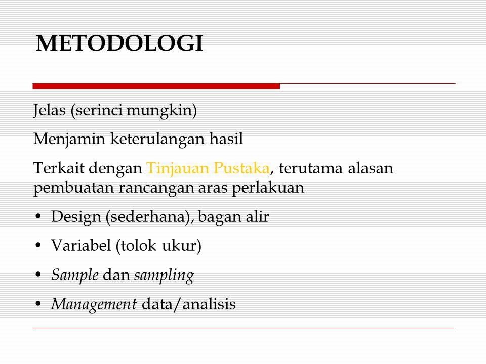 METODOLOGI Jelas (serinci mungkin) Menjamin keterulangan hasil