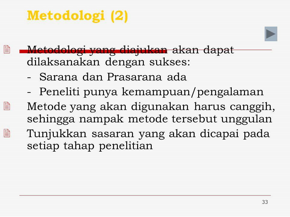Metodologi (2) Metodologi yang diajukan akan dapat dilaksanakan dengan sukses: - Sarana dan Prasarana ada.