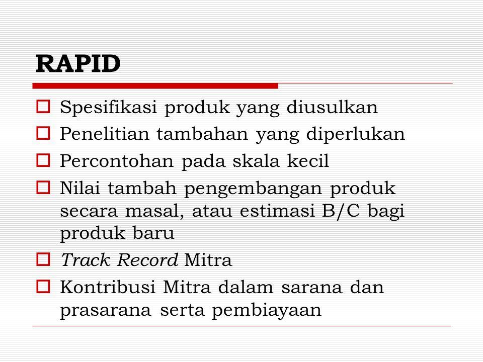 RAPID Spesifikasi produk yang diusulkan