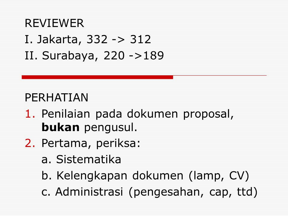 REVIEWER I. Jakarta, 332 -> 312 II. Surabaya, 220 ->189