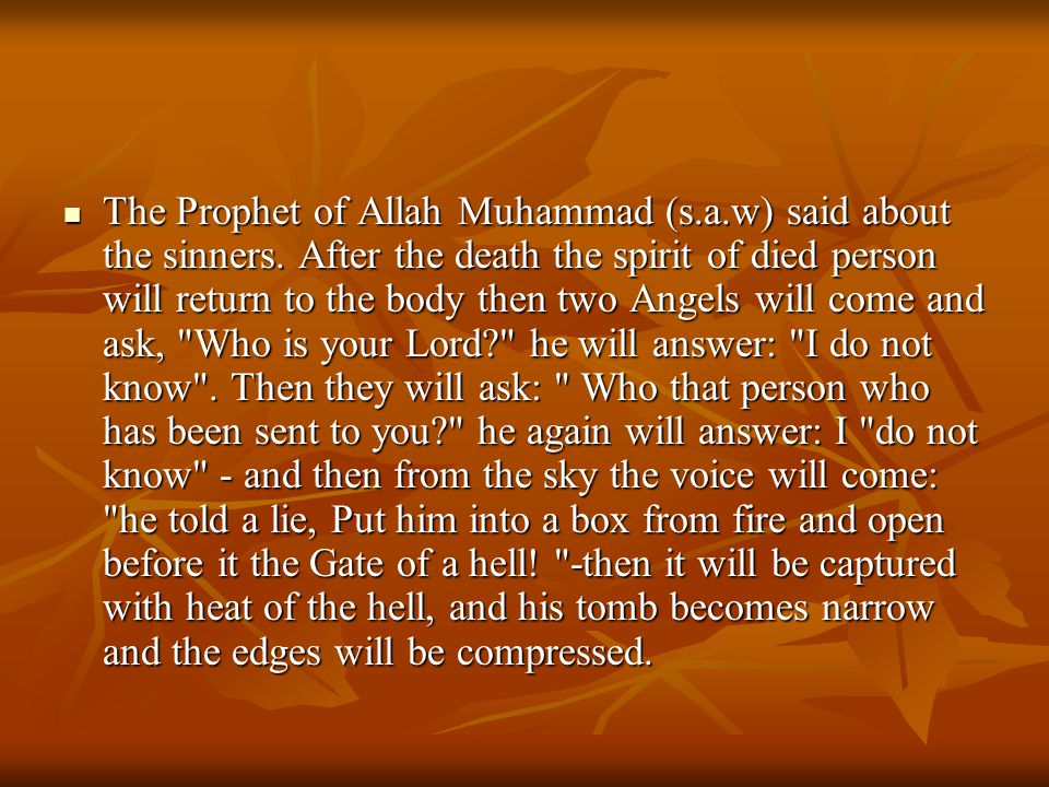 The Prophet of Allah Muhammad (s. a. w) said about the sinners