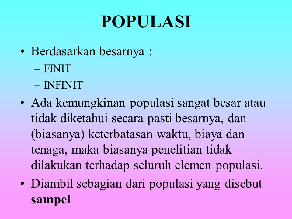 POPULASI Berdasarkan besarnya :