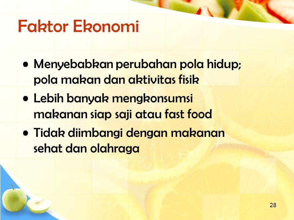 Faktor Ekonomi Menyebabkan perubahan pola hidup; pola makan dan aktivitas fisik.